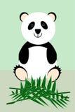 De leuke panda zit bij de bamboetakken Royalty-vrije Stock Afbeeldingen