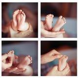 De leuke pasgeboren collage van babyvoeten Stock Foto