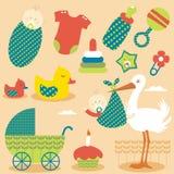 De leuke Pictogrammen van het Meisje van de Baby Stock Afbeeldingen