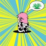 De leuke pop-artkrabbel van een meisje kleedde zich als koe Stock Illustratie
