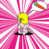 De leuke pop-artkrabbel van een meisje kleedde zich als konijntje Vector Illustratie