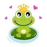 De leuke prins van de Kikker met harten Stock Afbeeldingen