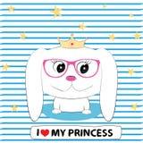 De leuke prinses van het hondmeisje binnen in glazen met een kroon op zijn hoofd vector illustratie