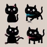 De leuke reeks van de beeldverhaal zwarte kat. Grappige inzameling. Royalty-vrije Stock Afbeeldingen