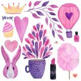 De leuke reeks van de manierwaterverf girly ontwerpelementen voor uitnodigingen, huwelijk, verjaardagsdecoratie of groetkaarten vector illustratie