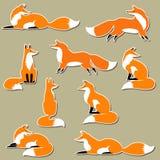 De leuke reeks van de vossticker Royalty-vrije Stock Afbeeldingen