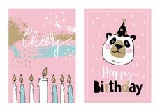 De leuke reeks van hand getrokken verjaardag of de baby overgiet groetkaarten, uitnodigingen met reuzepanda met partij hoed en he stock illustratie