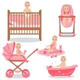 De leuke Reeks van het Babymeisje Royalty-vrije Stock Afbeeldingen