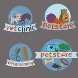 De leuke reeks van het dierenartspictogram Hand getrokken pictogrammen van huisdieren vector illustratie