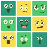 De leuke Reeks van Kawaii Emoticons, Emoji-Vierkanten met Grappige Gezichten en Verschillende Emoties Vectorillustratie stock illustratie