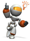 De leuke robot kwam met een goed idee op de proppen Stock Afbeeldingen