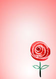 De leuke roze achtergrond met waterverfhand schilderde rood toenam Royalty-vrije Stock Fotografie