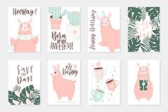 De leuke roze lama's overhandigen getrokken illustraties Reeks van 8 leuke kaarten stock illustratie