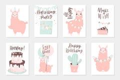 De leuke roze lama's overhandigen getrokken illustraties Reeks van 8 leuke kaarten royalty-vrije illustratie