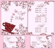 De leuke Roze Malplaatjes van het Menu van de Koffie en Van het Adreskaartje Royalty-vrije Stock Fotografie