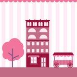 De leuke roze vlakke bouw Royalty-vrije Stock Afbeelding