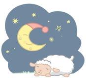 De leuke Schapen van de de Stijlbaby van Slaapkawaii en Slaap Crescent Moon With Blue Night GLB en de Scène Vectorillustratie ISO Royalty-vrije Stock Foto's