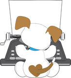 De leuke Schrijfmachine van het Puppy Stock Fotografie