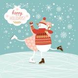 De leuke sneeuwmannen ski?en royalty-vrije illustratie