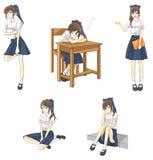 De leuke student van het beeldverhaal Aziatische Thaise schoolmeisje vector illustratie