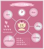De leuke symbolen van het babymeisje stock illustratie