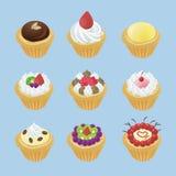 De leuke taartjes met verschillende 9 zien eruit Stock Foto's