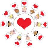 De leuke Tekens van het Hart van de Holding van de Cupido's van de Stok rond A hij Royalty-vrije Stock Afbeelding