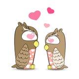 De leuke uilen in liefdevector, uilen voelen liefde Royalty-vrije Stock Foto