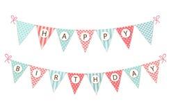 De leuke uitstekende feestelijke banner van de stoffenwimpel als bunting vlaggen met brieven Gelukkige Verjaardag in sjofele eleg stock illustratie