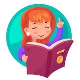 De leuke van de het karakterlezing van de Meisjesmascotte van het het boekonderwijs van het het beeldverhaalontwerp vectorillustr royalty-vrije illustratie