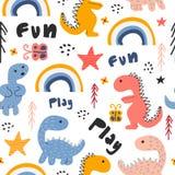 De leuke van de het patroon kinderachtige tekening van Dino hand getrokken naadloze kleurrijke achtergrond vector illustratie