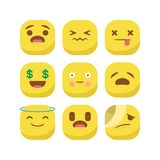 De leuke van de uitdrukkingssmiley van de emoji emoticon reactie vastgestelde geïsoleerde vector royalty-vrije illustratie