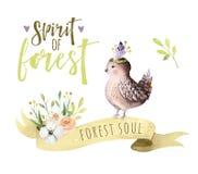 De leuke van de de vogelmus van de waterverf Boheemse baby dierlijke affiche voor nursary, bos isoleerde bosillustratie voor kind Stock Afbeeldingen