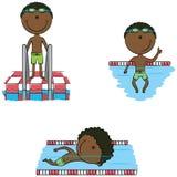 De leuke vector Afrikaans-Amerikaanse zwemmersjongens in verschillende sport zitten Stock Foto