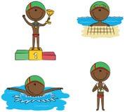 De leuke vector Afrikaans-Amerikaanse zwemmersjongens in verschillende sport zitten Stock Afbeelding