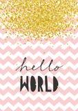 De leuke Vectorillustratie van de Babydouche Hello wereld Roze Chevron op Witte Achtergrond vector illustratie