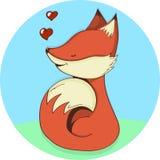 De leuke vectorillustratie van het vos aanbiddelijke beeldverhaal Glimlachend baby dierlijk foxy oranje die bont op witte achterg Royalty-vrije Stock Afbeelding