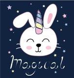 De leuke vectorillustratie van de konijntjeseenhoorn voor kinderenontwerp royalty-vrije illustratie