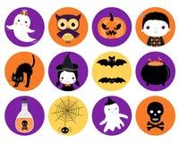 De leuke vectorpictogrammen van Halloween in vlakke stijl vector illustratie
