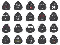 De leuke Vectorreeks van Emotiepictogrammen Stock Foto