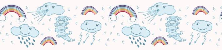 De leuke vectorwolken en de regenboog van het beeldverhaalweer vector illustratie