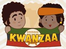 De leuke Vlag van Kwanzaa van de Paarholding met Kaarslicht, Vectorillustratie vector illustratie
