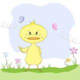 De leuke vogellente onder de bloemen Vector kleurenillustratie Vector Illustratie