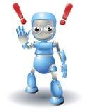 De leuke voorzichtigheid van het robotkarakter Stock Afbeeldingen