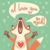 De leuke vos bekent zijn liefde Royalty-vrije Stock Foto's