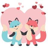 De leuke vossen van de valentijnskaartendag in de handen van de liefdeholding royalty-vrije illustratie