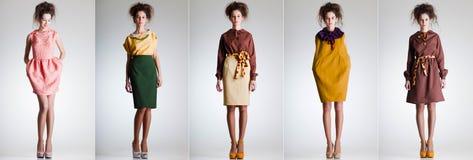 De leuke vrouw kleedde zich in elegante retro kleren Stock Afbeeldingen