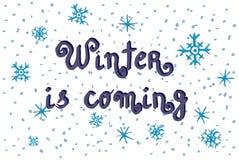 De leuke winter is komende krabbelachtergrond, waterverfsneeuwvlokken voor vakantiekaarten Royalty-vrije Stock Afbeelding