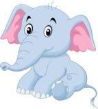 De leuke zitting van de babyolifant op witte achtergrond royalty-vrije illustratie