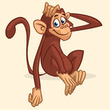 De leuke zitting van de beeldverhaalaap Vectorillustratie die van chimpansee zijn hoofd uitrekken De kinderen boeken illustratie  royalty-vrije stock foto's